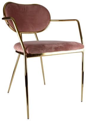 STOL - guldfärgad/rosa, Design, metall/textil (54/76/67cm)