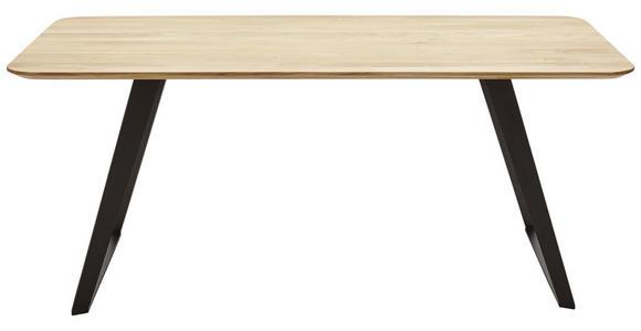 ESSTISCH Wildeiche massiv rechteckig Schwarz, Eichefarben  - Eichefarben/Schwarz, Design, Holz/Metall (180/90/76cm) - Voleo