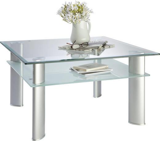KONFERENČNÍ STOLEK - barvy stříbra/průhledná, Design, kov/sklo (80/43/80cm) - Cantus