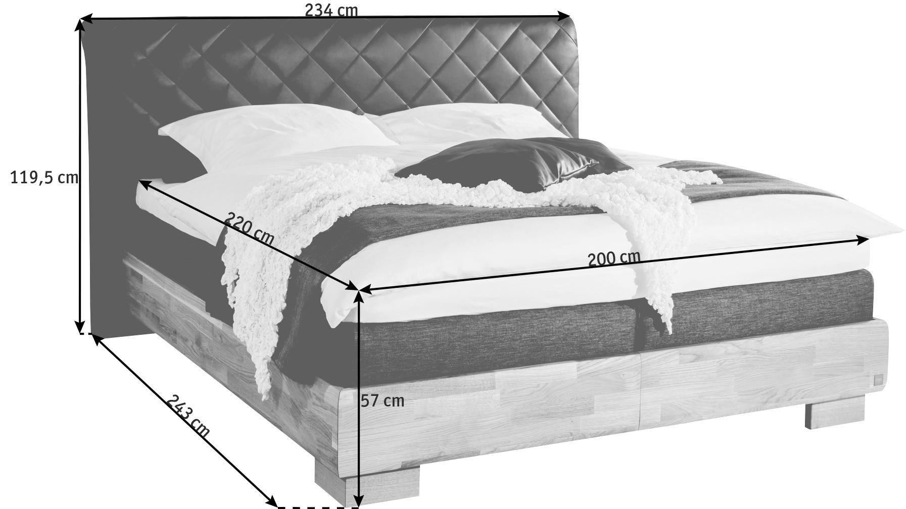BOXSPRINGBETT 200/220 cm  INKL. Matratze, Topper - Eichefarben/Braun, KONVENTIONELL, Leder/Holz (200/220cm) - NOVEL