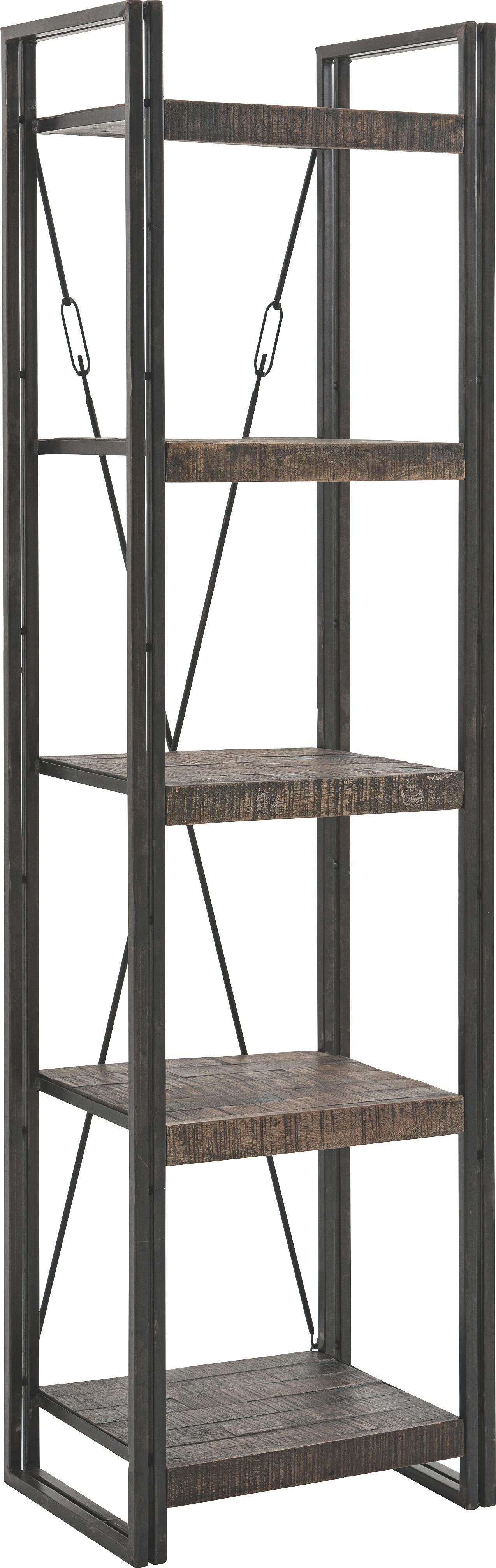 REGAL Mangoholz massiv Braun - Braun, Design, Holz/Metall (55/200/40cm)