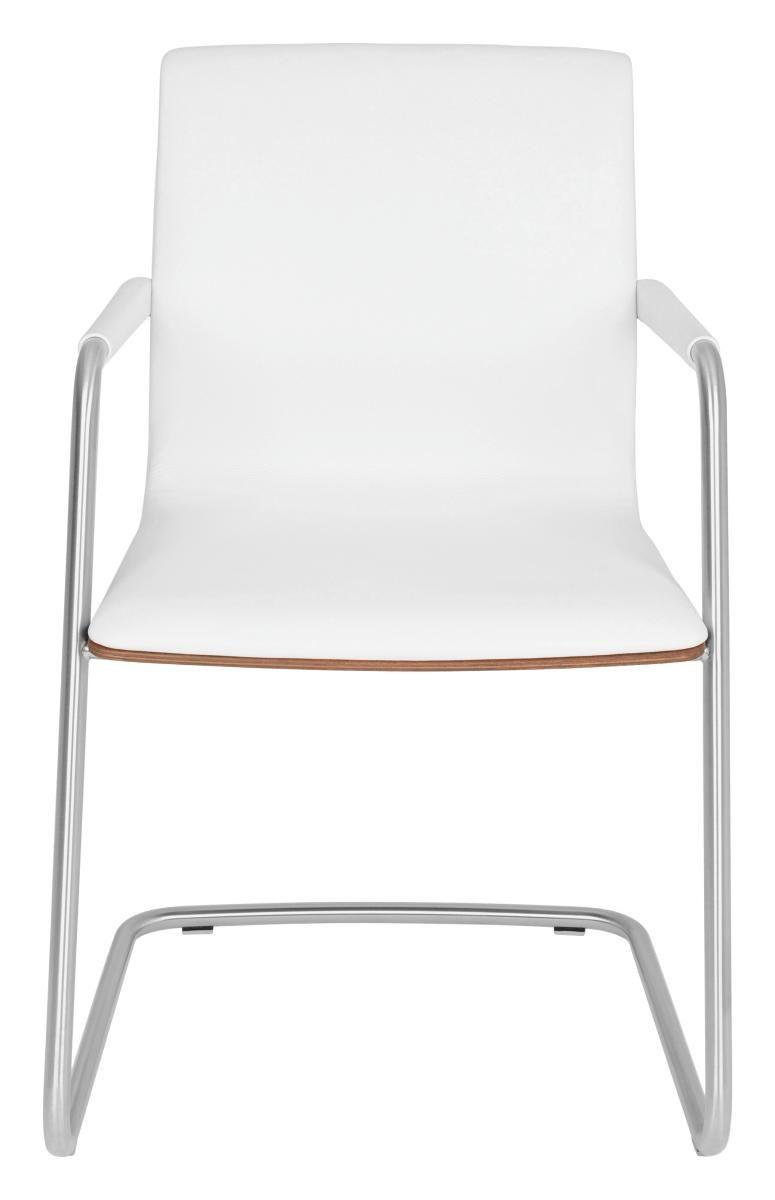 SCHWINGSTUHL in Holz, Leder, Metall Nussbaumfarben, Weiß - Edelstahlfarben/Nussbaumfarben, Design, Leder/Holz (57/90/62cm) - VENJAKOB