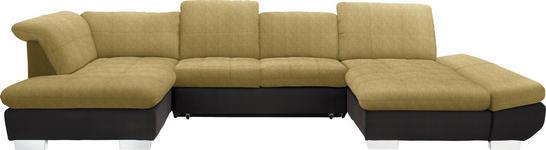 WOHNLANDSCHAFT in Textil Braun, Gelb - Chromfarben/Gelb, Design, Kunststoff/Textil (211/350/204cm) - Xora