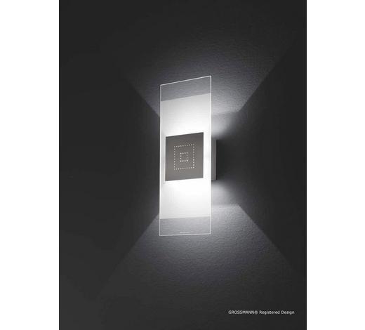 WANDLEUCHTE - Nickelfarben, Design, Metall (41/16/7,5cm)