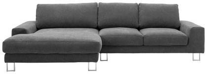 WOHNLANDSCHAFT in Textil Grau - Chromfarben/Grau, Design, Textil (170/316cm) - Dieter Knoll