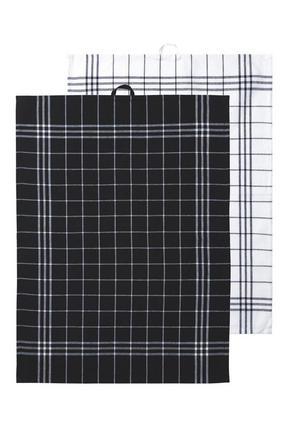 KÖKSHANDDUK - vit/svart, Basics, textil (37/26/0,85cm)