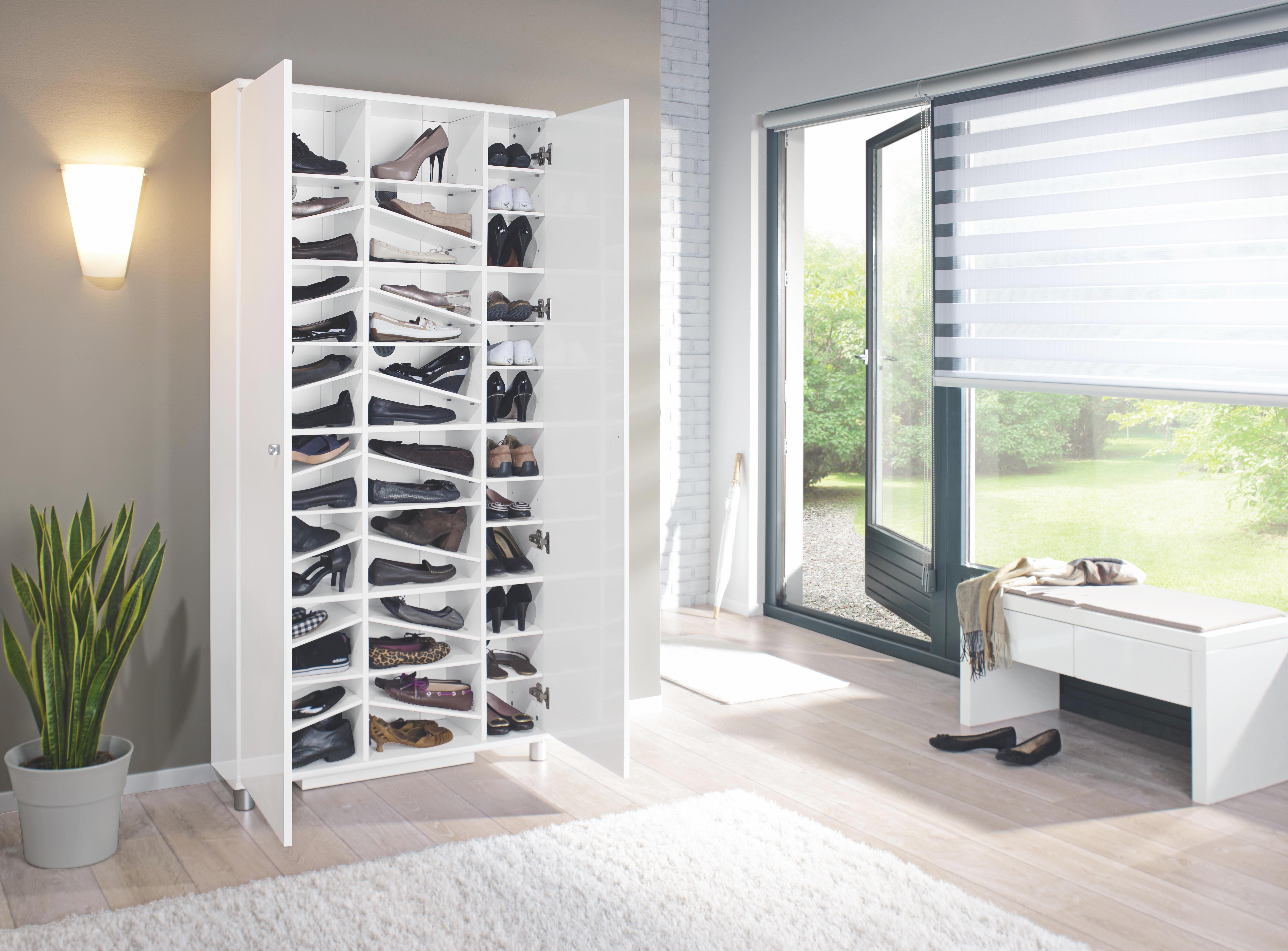 SKOSKÅP - vit/silver, Design, metall/träbaserade material (90,6/188,5/28,0cm) - Xora