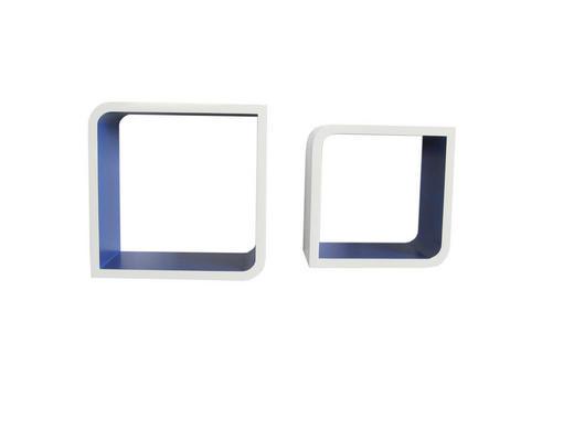 SET ZIDNIH POLICA - bijela/plava, Design, drvni materijal (28/23/28/23/15cm) - BOXXX