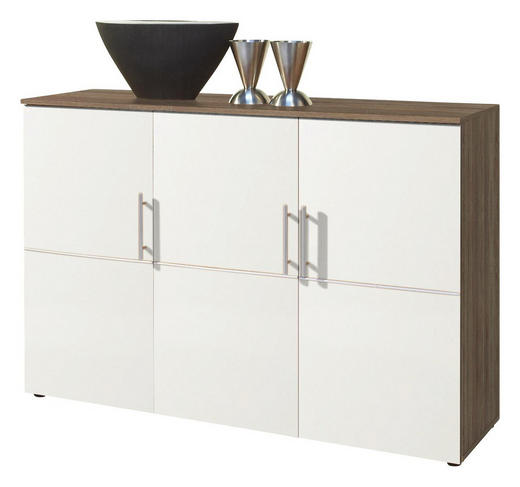 KOMMODE Sonoma Eiche, Weiß - Silberfarben/Weiß, Design, Holzwerkstoff/Kunststoff (132/91/38cm) - Carryhome