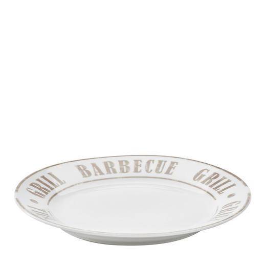 SPEISETELLER Keramik Porzellan - Weiß/Grau, LIFESTYLE, Keramik (27cm) - Homeware