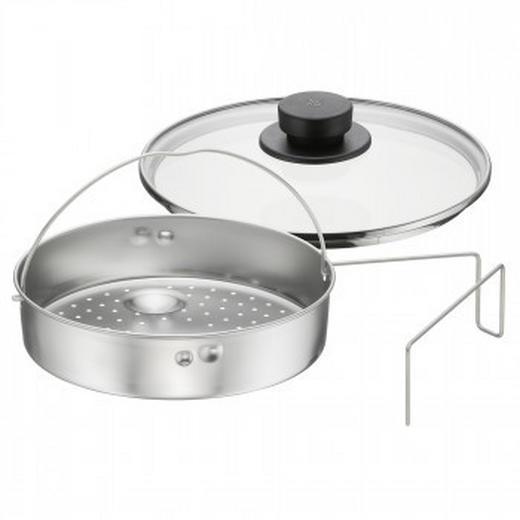 Schnellkochtopf Zubehör 3-tlg. - Edelstahlfarben/Transparent, Design, Glas/Metall (26/24.5/12cm) - WMF