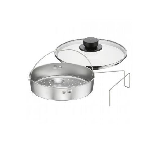 Schnellkochtopf Zubehör 3-tlg.  - Transparent/Silberfarben, Design, Glas/Metall (22cm) - WMF