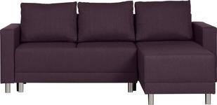 WOHNLANDSCHAFT in Textil Aubergine  - Silberfarben/Aubergine, Design, Kunststoff/Textil (215/145cm) - Carryhome