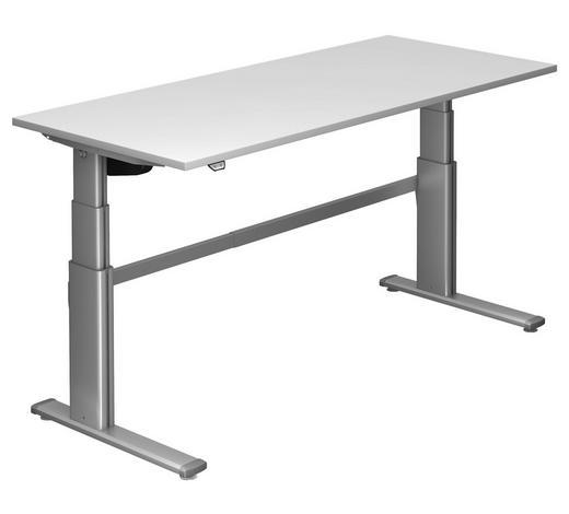 SCHREIBTISCH - Silberfarben/Weiß, Design, Holzwerkstoff/Metall (180/66-130/80cm)