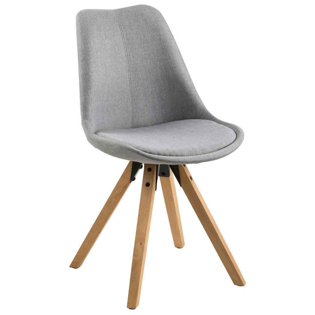 Carryhome Stuhl webstoff kautschukholz massiv grau