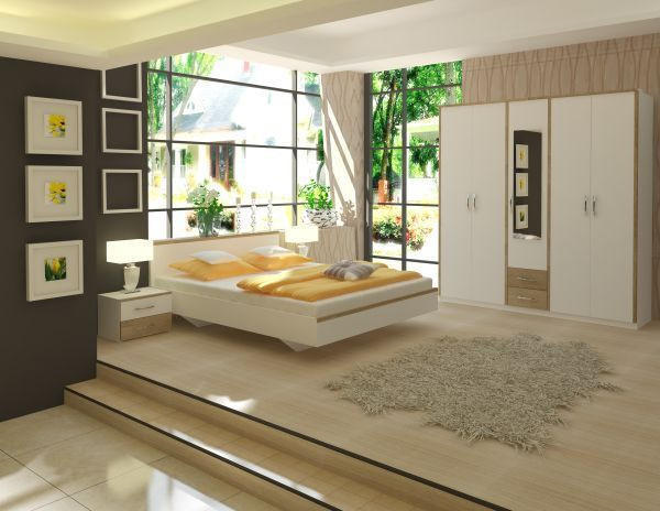 SPAVAĆA SOBA - bijela/hrast Sonoma, Design, drvni materijal (212/363/204cm) - BOXXX