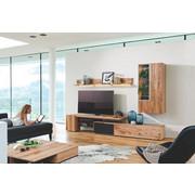 WOHNWAND Altholz, Eiche mehrschichtige Massivholzplatte (Tischlerplatte) Anthrazit, Eichefarben  - Eichefarben/Anthrazit, Design, Glas/Holz (288/194/57cm) - Voglauer