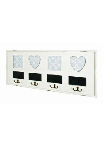 STENSKI OBEŠALNIK - črna/bela, Design, kovina/leseni material (63/26/3cm) - Xora