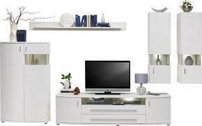 HYLLKOMBINATION - vit/kromfärg, Design, glas/träbaserade material (336/198/48cm) - Hom`in
