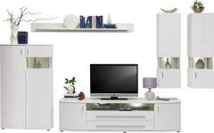 WOHNWAND Weiß - Chromfarben/Silberfarben, Design, Glas/Holzwerkstoff (336/198/48cm) - Hom`in