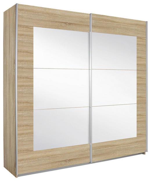 SCHWEBETÜRENSCHRANK 2-türig Eichefarben - Eichefarben/Alufarben, Design, Glas/Holzwerkstoff (226/210/62cm) - Xora