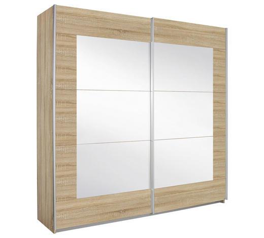 SCHWEBETÜRENSCHRANK in Eichefarben - Eichefarben/Alufarben, KONVENTIONELL, Glas/Holzwerkstoff (181/210/62cm) - Xora
