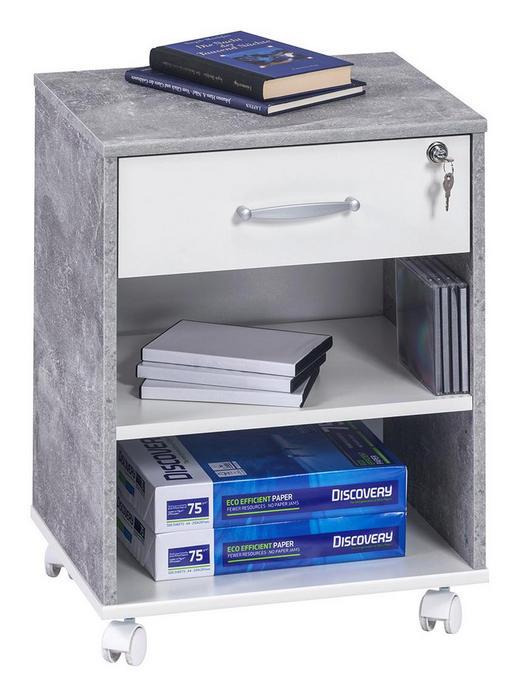 ROLLCONTAINER Hellgrau, Weiß - Hellgrau/Alufarben, KONVENTIONELL, Holzwerkstoff/Kunststoff (45,6/59,1/36cm)