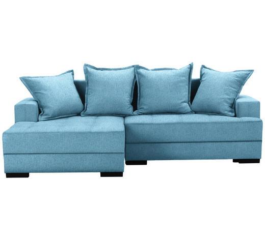 WOHNLANDSCHAFT in Textil Blau  - Blau/Schwarz, KONVENTIONELL, Holz/Textil (148/238cm) - Carryhome