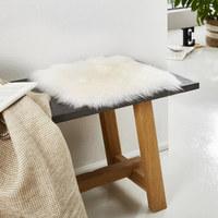 Sitzkissen - Weiß, Basics, Leder/Fell (34 34 cm) - Linea Natura