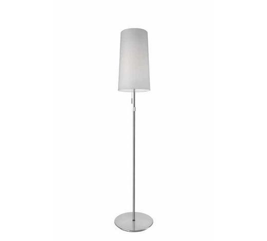 STEHLEUCHTE - Chromfarben/Weiß, MODERN, Textil/Metall (24/128-164cm)