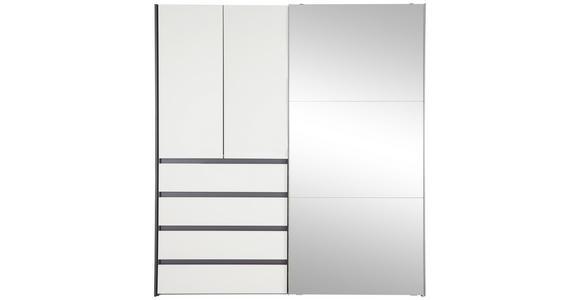 KLEIDERSCHRANK in Graphitfarben, Weiß  - Alufarben/Graphitfarben, Design, Glas/Holzwerkstoff (200/216/68cm) - Hom`in