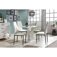 STUHL Lederlook Schwarz, Weiß  - Schwarz/Weiß, Design, Textil/Metall (43,5/96/58cm) - Carryhome