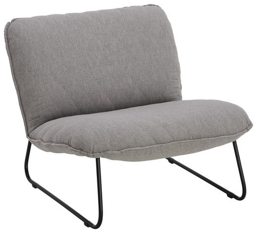 SESSEL in Textil Grau - Schwarz/Grau, Design, Textil/Metall (77/71/83cm) - Lomoco