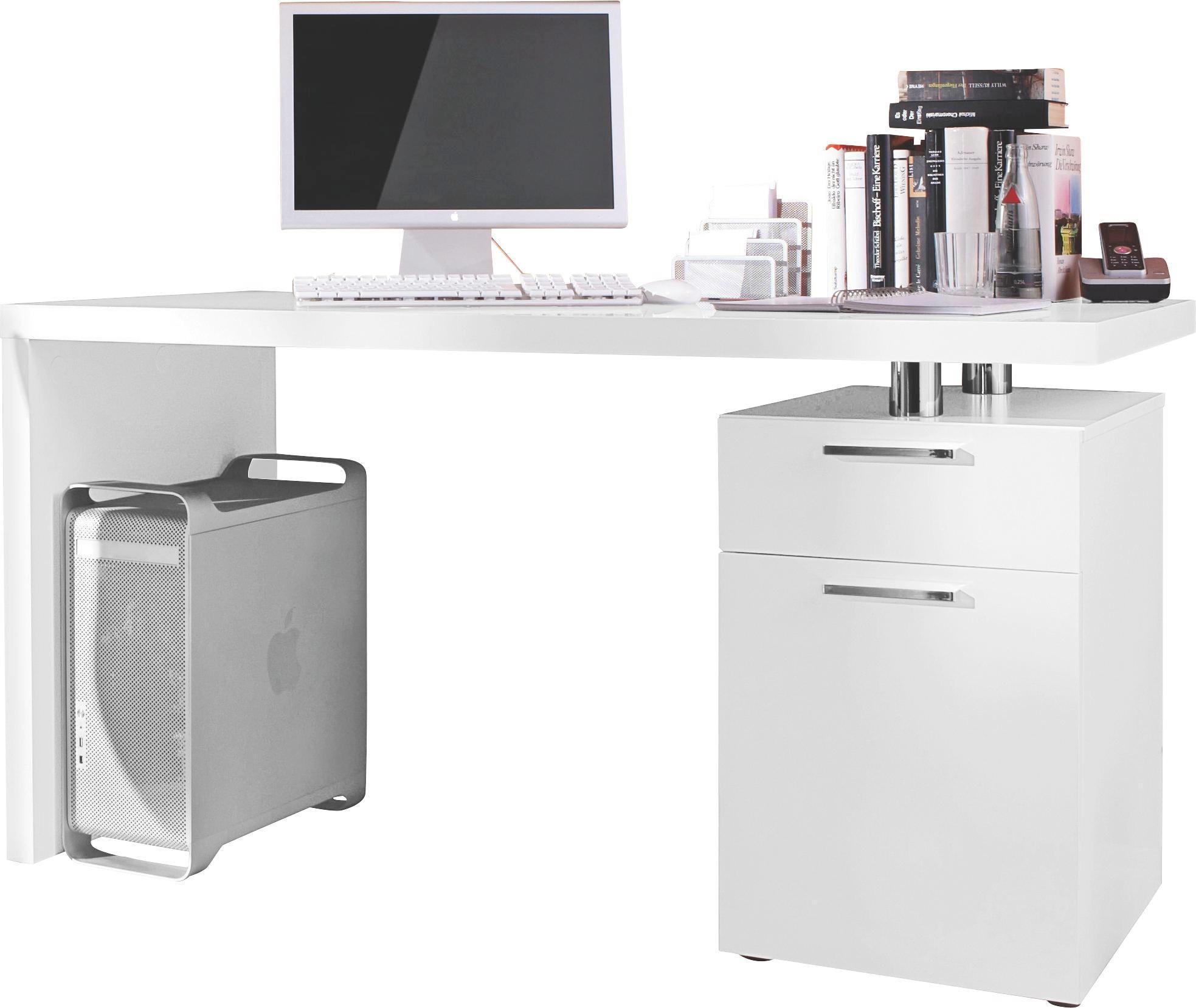 SCHREIBTISCH Weiß - Chromfarben/Weiß, Design, Kunststoff (140/75/65cm) - BOXXX