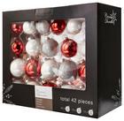 CHRISTBAUMKUGEL-SET  42-teilig Rot, Weiß - Rot/Weiß, Basics, Glas
