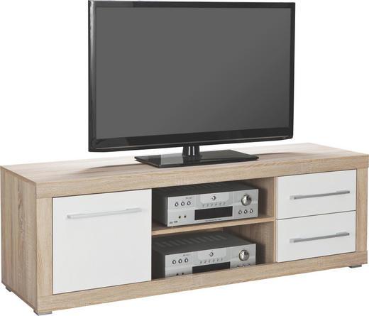 TV-ELEMENT Sonoma Eiche, Weiß - Silberfarben/Weiß, Design, Holzwerkstoff/Kunststoff (155/52/45cm) - BOXXX