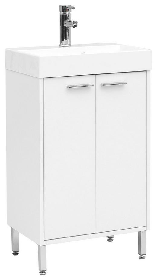 WASCHTISCHKOMBI Weiß - Chromfarben/Weiß, Design, Holzwerkstoff/Stein (50/86,5/36cm) - Stylife
