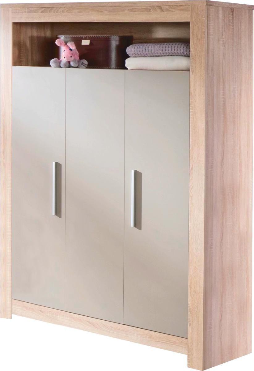 KLEIDERSCHRANK 3  -türig Eichefarben, Grau - Chromfarben/Eichefarben, Basics, Holzwerkstoff/Kunststoff (130/188/54cm) - MY BABY LOU