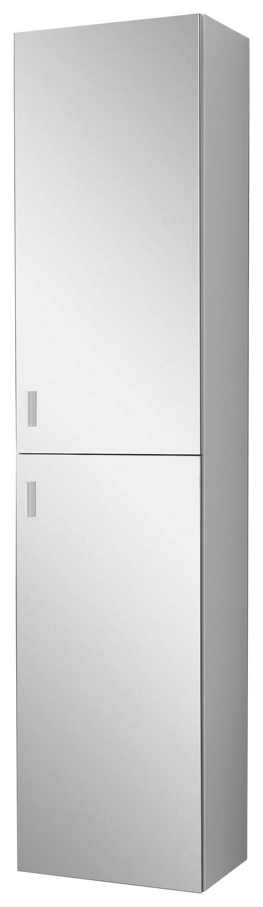 HOCHSCHRANK - Silberfarben/Weiß, Design, Glas/Holzwerkstoff (40/178,7/34,8cm) - Welnova