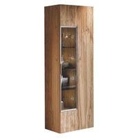 VITRINE Altholz, Eiche furniert, mehrschichtige Massivholzplatte (Tischlerplatte) Eichefarben  - Eichefarben/Silberfarben, Design, Glas/Holz (64/194/42,3cm) - Voglauer