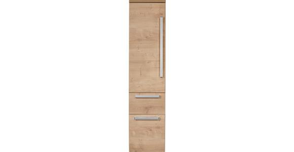 HOCHSCHRANK Eichefarben  - Chromfarben/Eichefarben, Basics, Glas/Holzwerkstoff (30/126,8/38cm) - Dieter Knoll