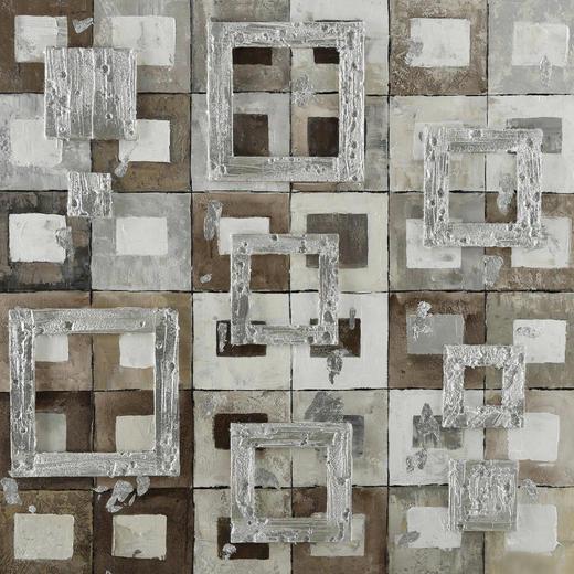 Abstraktes ÖLGEMÄLDE - Multicolor, Design, Holz/Textil (85/85cm) - Monee