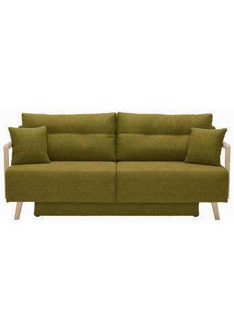 SCHLAFSOFA Olivgrün - Naturfarben/Olivgrün, KONVENTIONELL, Holz/Textil (200/92/95cm) - Venda