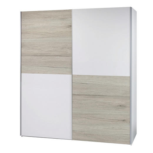 SCHWEBETÜRENSCHRANK 2-türig Eichefarben, Weiß - Eichefarben/Alufarben, Design, Metall (175/195/60cm) - Carryhome