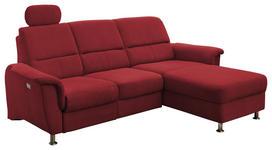 WOHNLANDSCHAFT Rot Mikrofaser - Chromfarben/Rot, MODERN, Textil/Metall (231/114/165cm) - Cantus