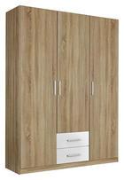 DREHTÜRENSCHRANK in Eichefarben, Weiß - Eichefarben/Silberfarben, Design, Holzwerkstoff/Kunststoff (136/197/54cm) - CARRYHOME