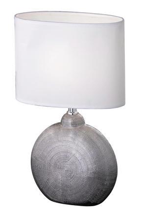 BORDSLAMPA - vit/kromfärg, Klassisk, textil/keramik (23/13/36cm)