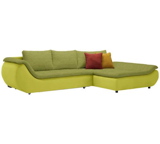 WOHNLANDSCHAFT in Textil Grün  - Schwarz/Grün, Design, Kunststoff/Textil (310/185cm) - Carryhome