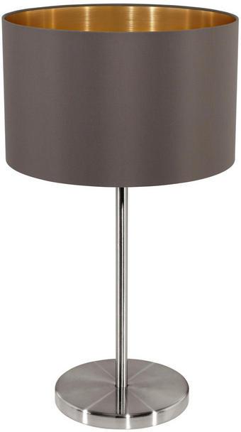 TISCHLEUCHTE - Taupe/Nickelfarben, LIFESTYLE, Textil/Metall (23/42cm)
