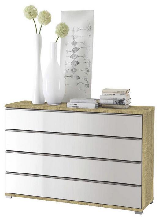 KOMMODE Sonoma Eiche, Weiß - Chromfarben/Weiß, Design, Glas/Kunststoff (120/80/40cm) - Moderano
